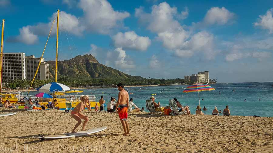 Learning to surf on Waikiki beach