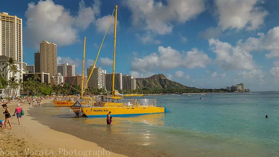 enjoying Waikiki beach