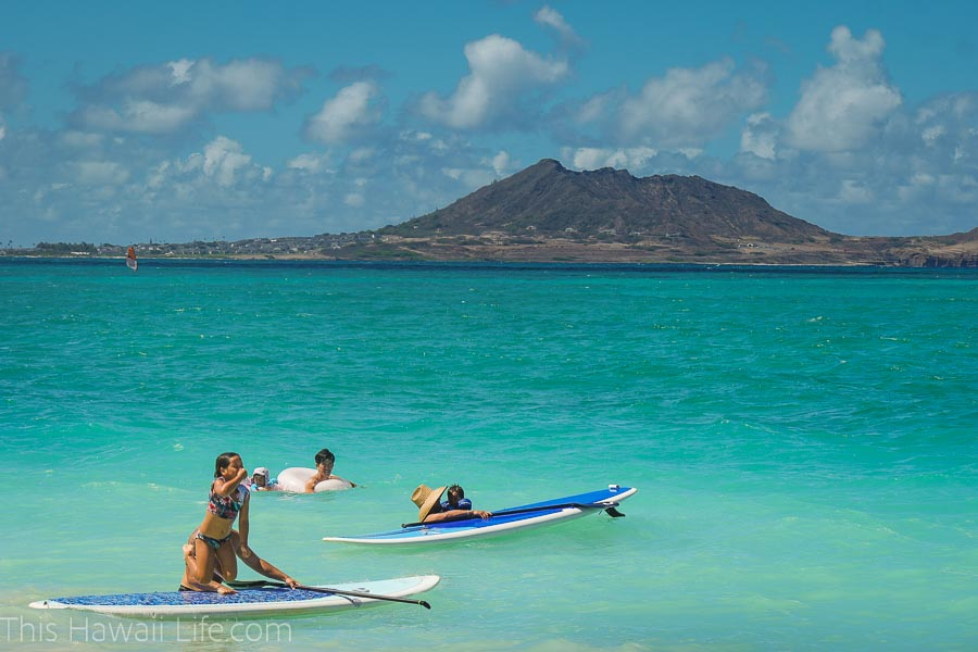 Learning how to SUP board in Oahu
