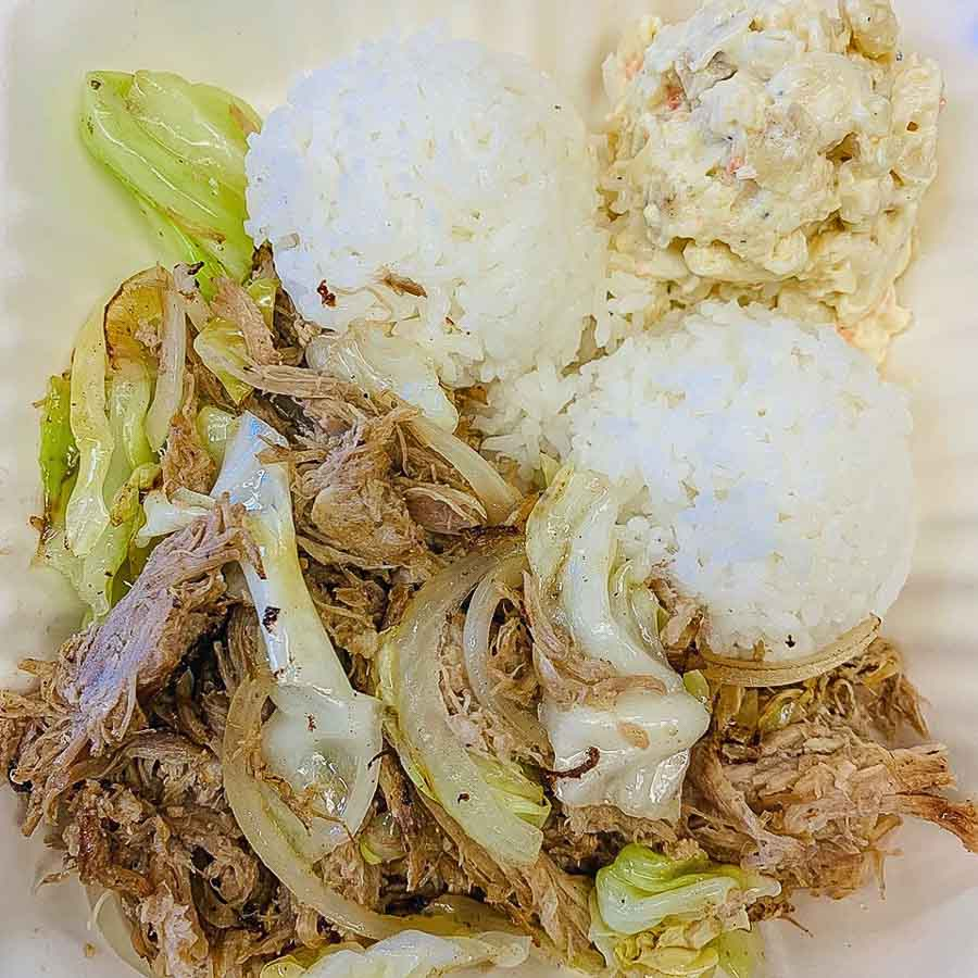 traditional Hawaiian food favorites with kalua pig