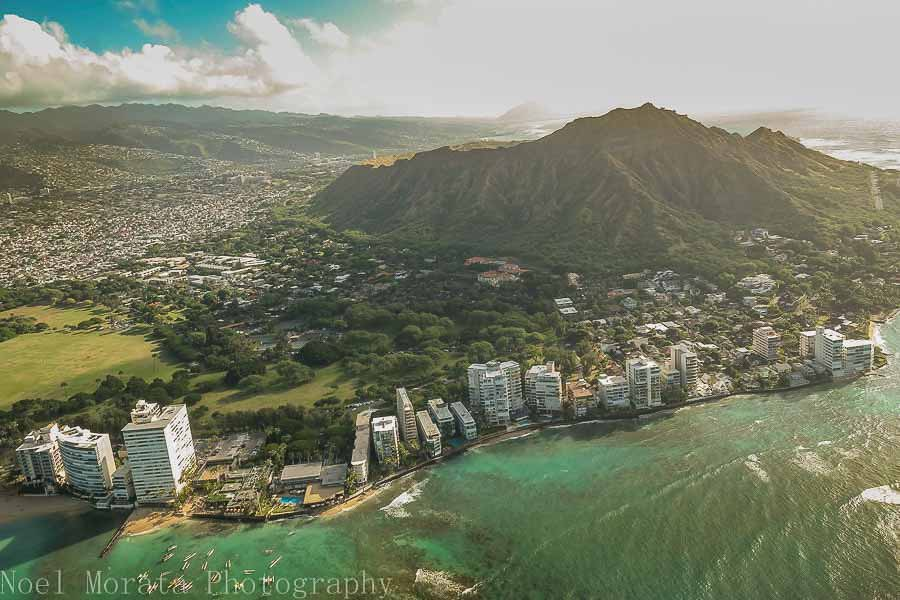 Helicopter rider over Diamond Head in Honolulu