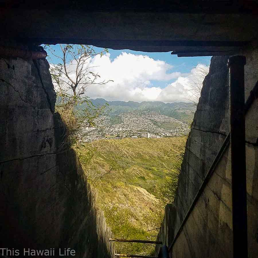 Entering the tunnel to top of Diamond Head