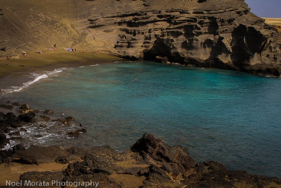 Green sand beach on the Big Island