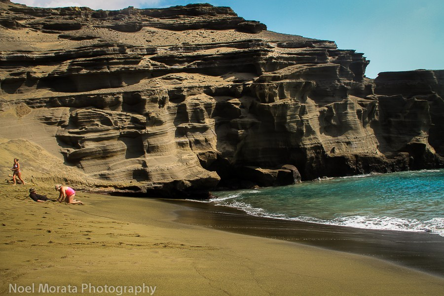 Green-sand-beach-detail of olivine sand