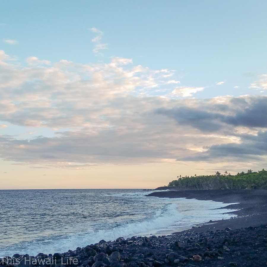 The new black sand beach in Opihikao, Big Island