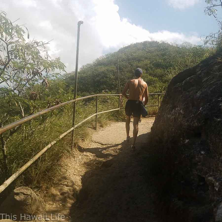 Trail head gravel path mid section at Diamond Head