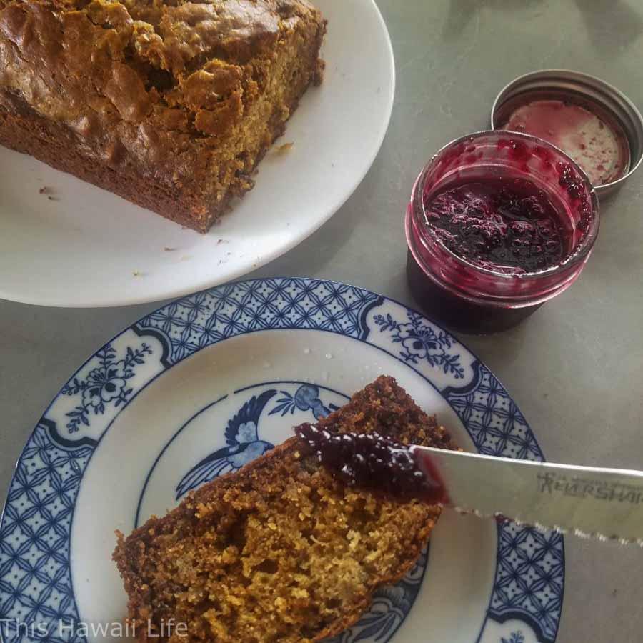 Hawaiian banana bread with fresh local jam