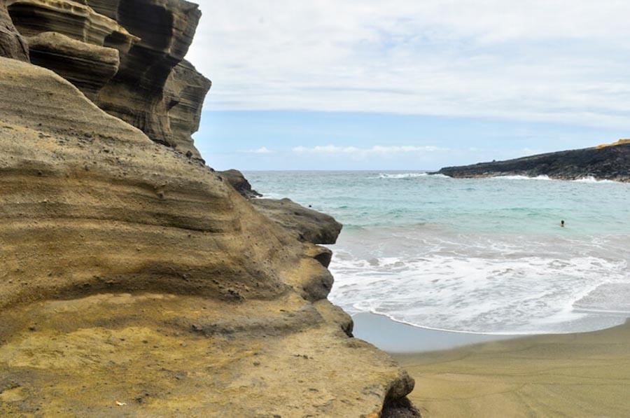 Green sand beach on Big Island
