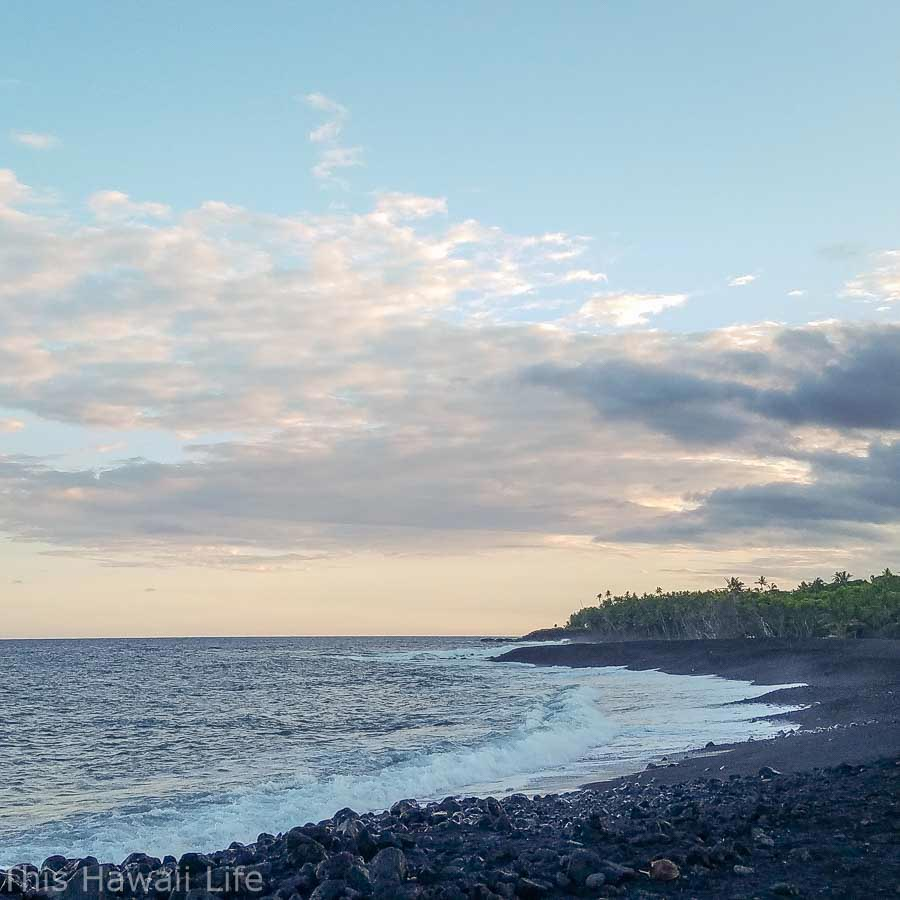 Exploring the new black sand beach at Poihiki in the Puna District