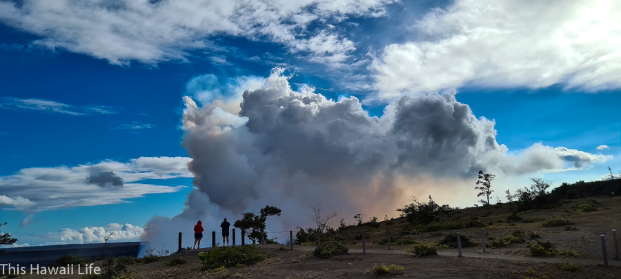 Visiting the park to view eruptions at viewing platforms