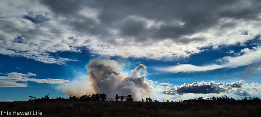 Lava eruptions at Volcanoes National Park