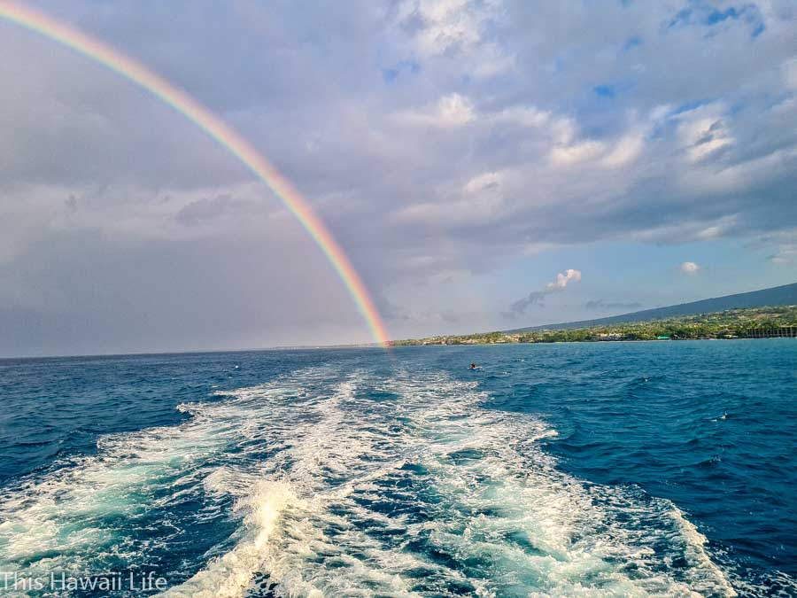 Cruising outside Kailua Kona harbor area on a snorkel cruise around Kona