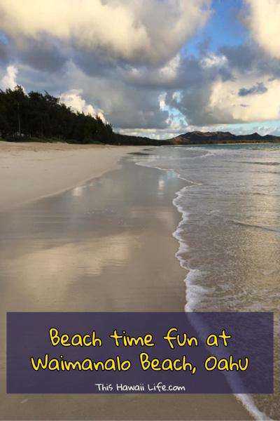 Beach time fun at Waimanalo Beach Oahu Pinterest image
