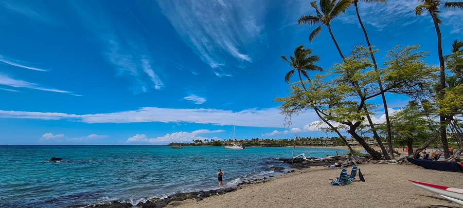 Beach time at A Bay also known as Anaehoʻomalu Bay