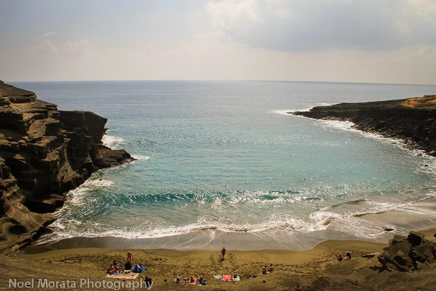 Visit the Green sand beach at Papakolea