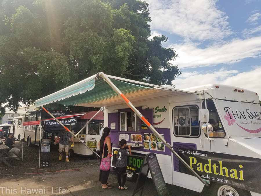 food trucks sell take away foods at the Hilo Farmers markets