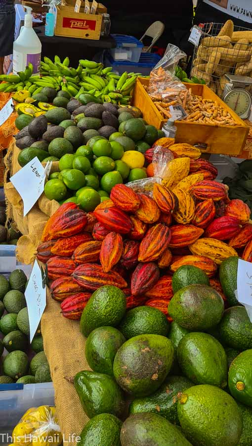 Delicious fruits and veggies at the Kamuela Farmers Market