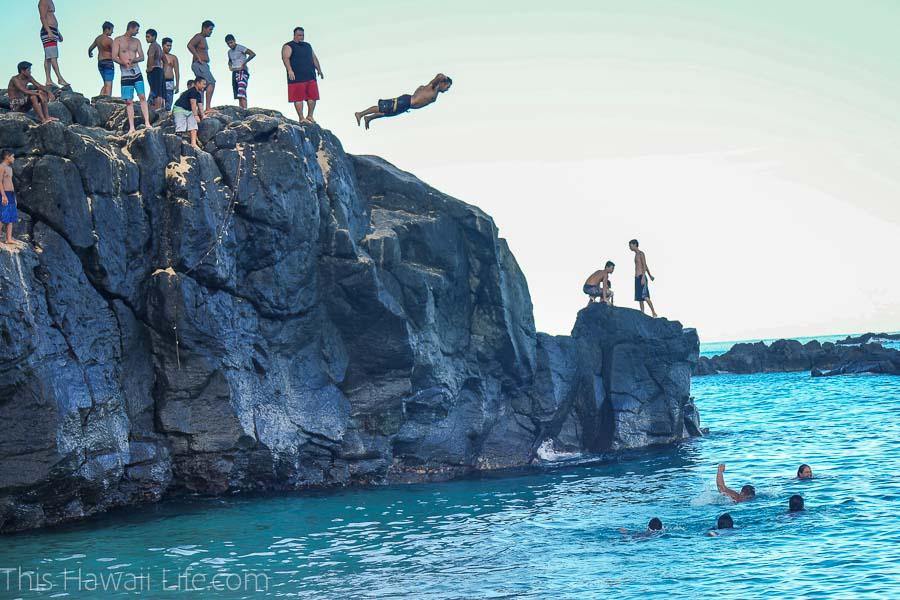 Jumping off the Rocks at Waimea Bay