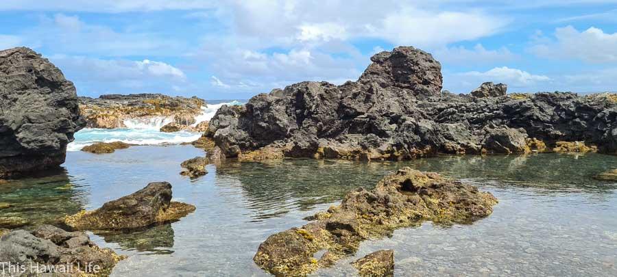 A new black sand beach at Kapoho and tidepools at Kapoho
