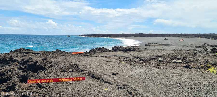 A new Kapoho black sand beach with no name in Hawaii