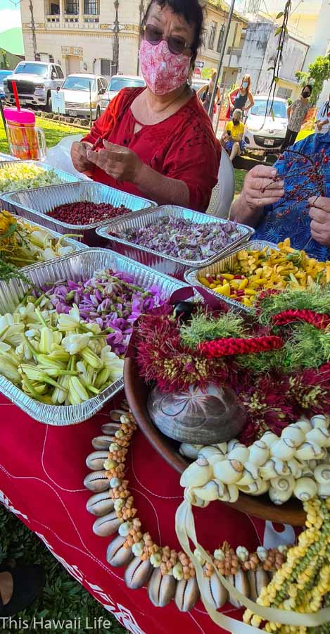 Flowers and materials used to make lei