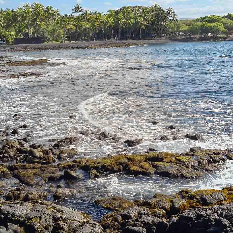 tidepool area in the beach area at Punalu'u beach