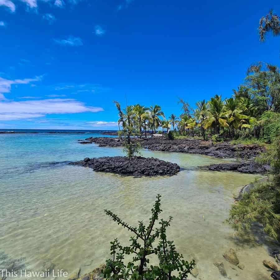 passing Beach area and lagoon along the Honomalino trail head