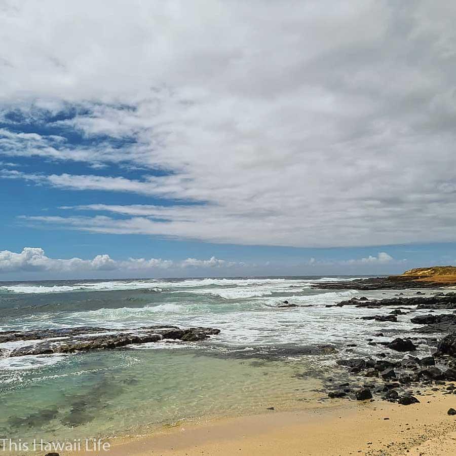 The rugged coastline hike towards papakolea beach area.